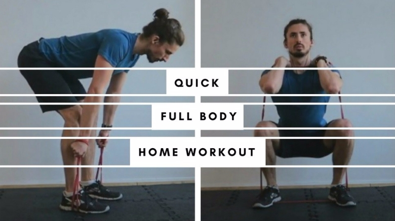 Quick full body workout with resistance band