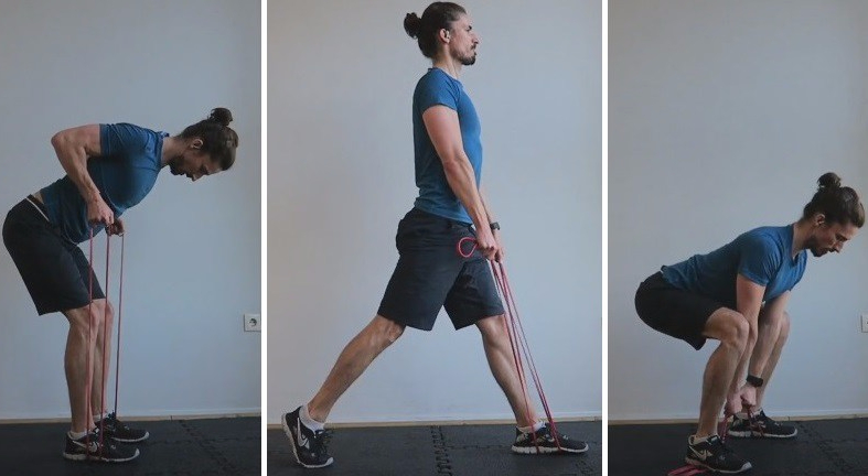 Quick workout with elastic band